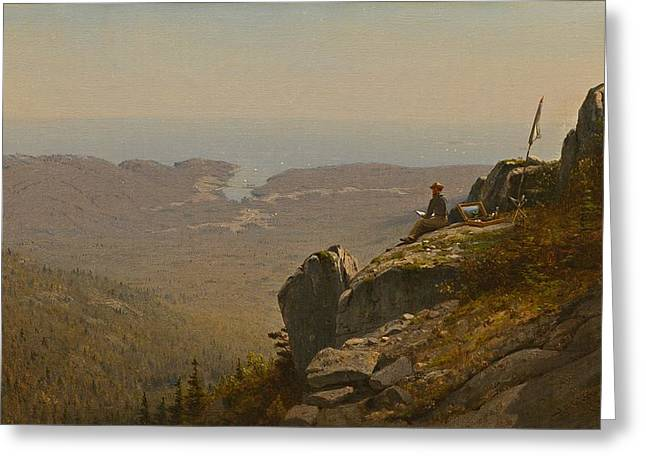 The Artist Sketching At Mount Desert Maine Greeting Card by Mountain Dreams