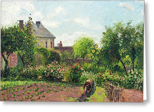 Tending Greeting Cards - The Artists Garden at Eragny Greeting Card by Camille Pissarro