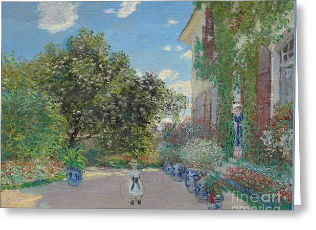 The Artist's House At Argenteuil Greeting Card by Claude Monet