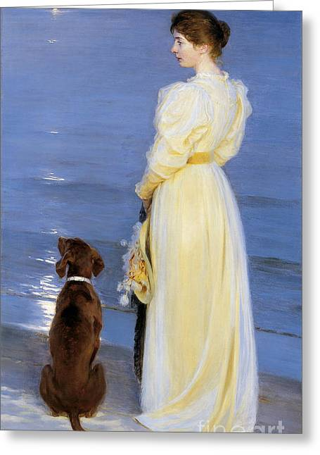 Summer Evening At Skagen Paintings Greeting Cards - The Artists Wife and Dog by the Shore Greeting Card by Celestial Images