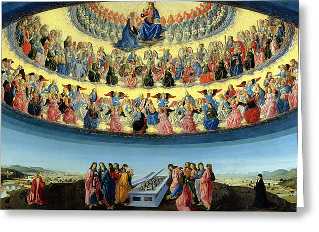 Catholic work Paintings Greeting Cards - The Assumption Of The Virgin Greeting Card by Francesco Botticini
