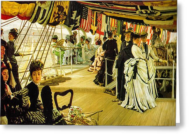 1874 Greeting Cards - The Ball on Shipboard  Greeting Card by James Tissot