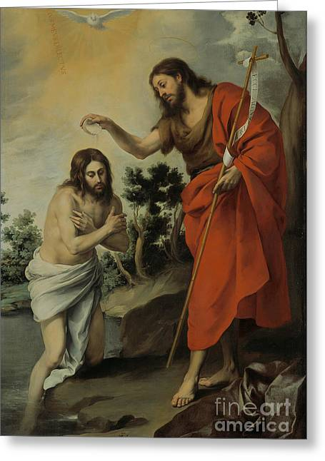Bartolome Esteban Murillo Greeting Cards - The Baptism of Christ Greeting Card by Celestial Images