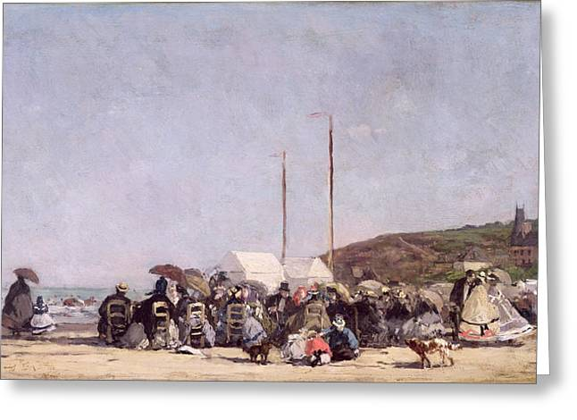 Boudin; Eugene Louis (1824-98) Greeting Cards - The Beach at Trouville Greeting Card by Eugene Louis Boudin
