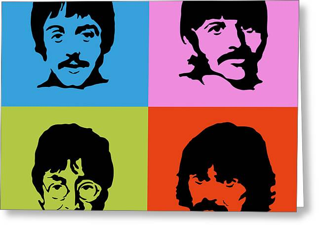 The Beatles Colors Greeting Card by Caio Caldas