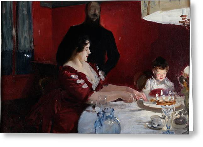 Birthday Cake Greeting Cards - The Birthday Party Greeting Card by John Singer Sargent