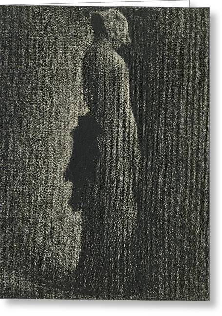 Seurat Greeting Cards - The Black Bow Greeting Card by Georges-Pierre Seurat