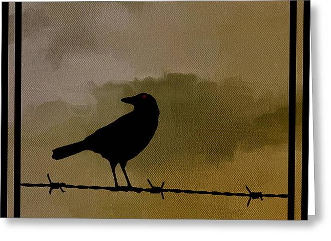 Barbed Wire Fences Greeting Cards - The Black Crow Knows Greeting Card by Edward Fielding