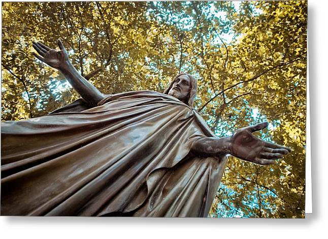 Historic Statue Greeting Cards - The Black Jesus Greeting Card by Linda Unger