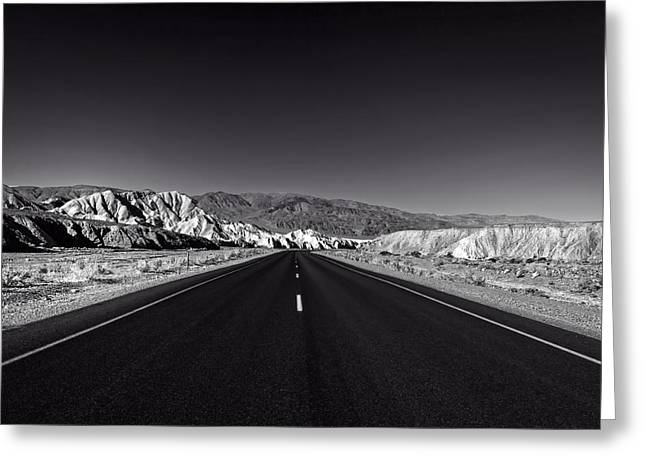 Scrub Brush Greeting Cards - The Black Road Through Death Valley Greeting Card by Mountain Dreams