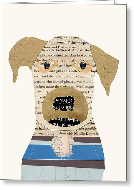Boxer Dog Art Print Greeting Cards - The Boxer Greeting Card by Bri Buckley