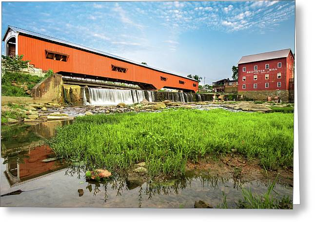 The Bridgeton Mill And Covered Bridge - Indiana Greeting Card by Gregory Ballos