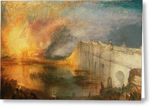 The Burning Of The Houses Of Lords And Commons Greeting Card by Joseph Mallord William Turner