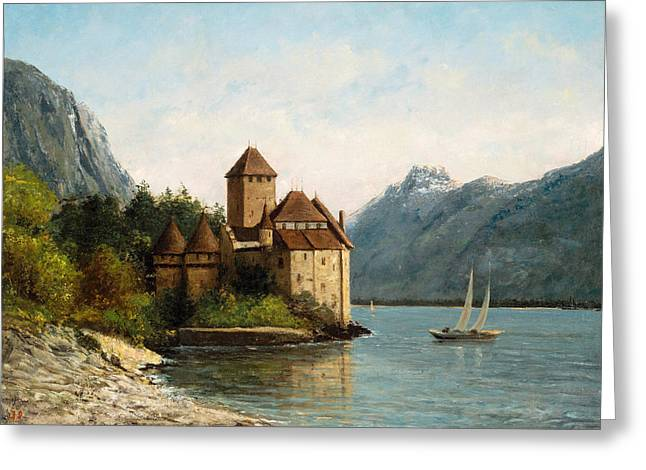 Chillon Greeting Cards - The Castle of Chillon. Evening Greeting Card by Gustave Courbet