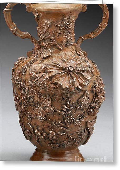 Rocky Mountain Reliefs Greeting Cards - The Cedar Ridge - bronze vase Greeting Card by Dawn Senior-Trask