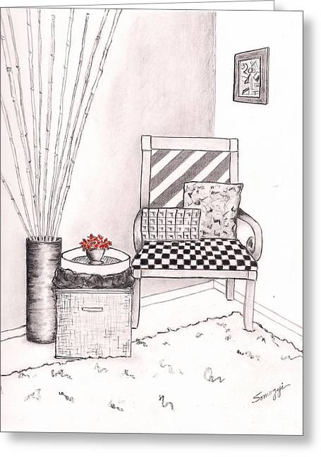 The Chair Greeting Card by Jayne Somogy