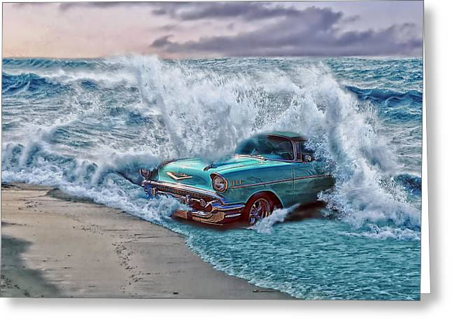 Sand Art Greeting Cards - The Chevy Wave Greeting Card by Mountain Dreams