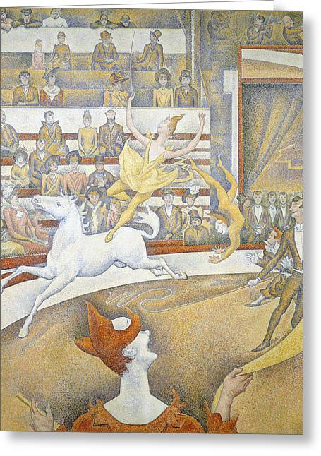 Seurat Greeting Cards - The Circus Greeting Card by Georges-Pierre Seurat