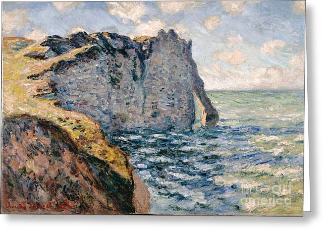 Vintage Painter Greeting Cards - The Cliff of Aval - Etretat Greeting Card by Claude Monet