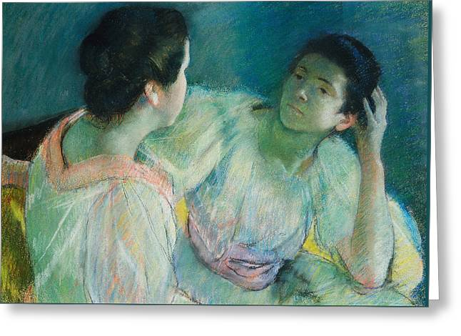The Conversation Greeting Card by Mary Stevenson Cassatt