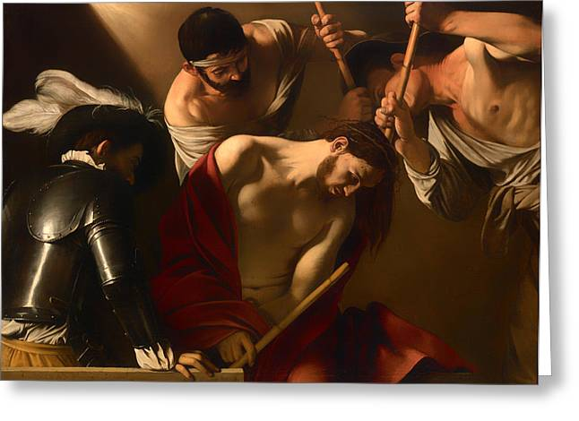 Religious work Paintings Greeting Cards - The Crowing With Thorns Greeting Card by Caravaggio