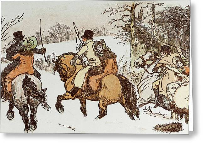 The Curmudgeons Christmas  Horse Riding Greeting Card by English School