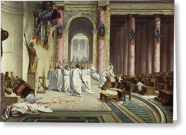 The Death Of Caesar Greeting Card by Jean Leon Gerome