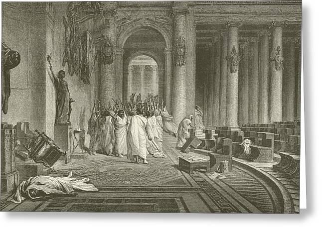 The Death Of Julius Caesar Greeting Card by Jean Leon Gerome