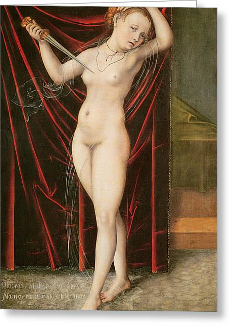 Sorrow Greeting Cards - The Death of Lucretia Greeting Card by Lucas the elder Cranach