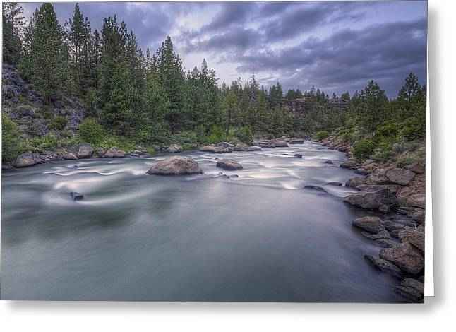 The Deschutes River At Dusk Greeting Card by Twenty Two North Photography