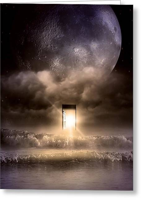 Mystic Sky Art Greeting Cards - The Door Greeting Card by Svetlana Sewell