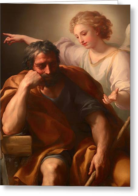 Saint Joseph Greeting Cards - The Dream of St Joseph Greeting Card by Anton Raphael Mengs