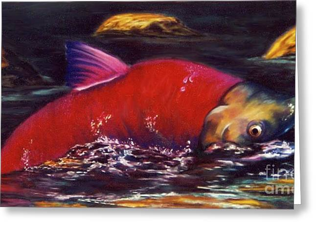 Salmon Pastels Greeting Cards - The End of the Circle Greeting Card by Dian Paura-Chellis
