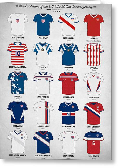 Usa National Team Greeting Cards - The Evolution of the Us World Cup Soccer Jersey Greeting Card by Taylan Soyturk