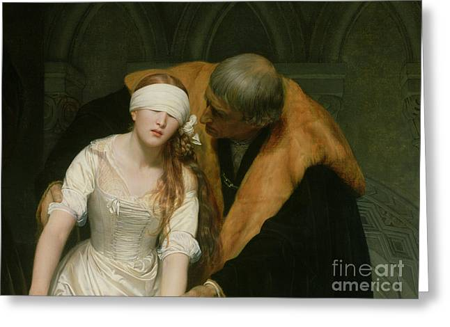 Sympathy Paintings Greeting Cards - The Execution of Lady Jane Grey Greeting Card by Hippolyte Delaroche
