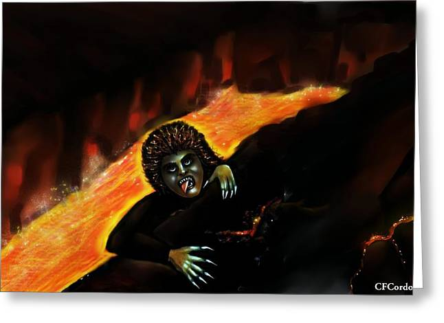 Evilness Greeting Cards - The Demise of Lucifer Greeting Card by Carmen Cordova