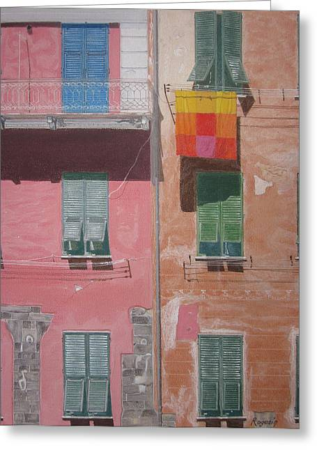 Facades Pastels Greeting Cards - The Face of Vernazza Greeting Card by Harvey Rogosin