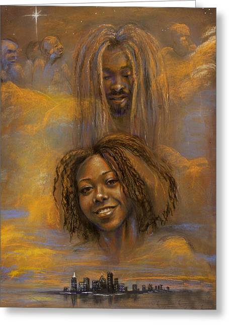 African-americans Pastels Greeting Cards - The Faces of God Greeting Card by Gary Williams