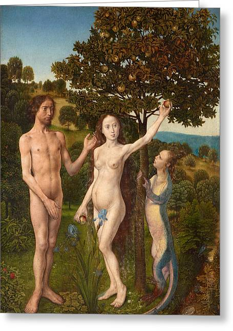 The Fall Of Man And The Lamentation Greeting Card by Hugo van der Goes