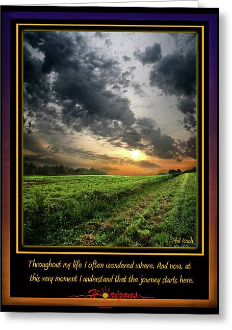 Inspirational Poster Greeting Cards - The First Horizon Greeting Card by Phil Koch