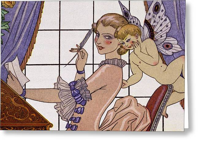 Love Letter Drawings Greeting Cards - The First Letter Greeting Card by Georges Barbier