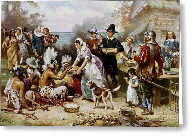 Gerome Greeting Cards - The First Thanksgiving Greeting Card by Jean Leon Gerome Ferris