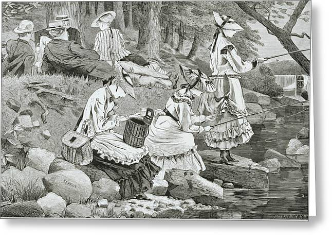 Fishing Reliefs Greeting Cards - The Fishing Party Greeting Card by Winslow Homer