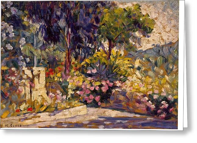 The Flowered Terrace Greeting Card by Henri-Edmond Cross