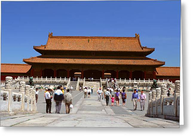 Tai Greeting Cards - The Forbidden City - Tai He Men Gate Greeting Card by Panoramic Images