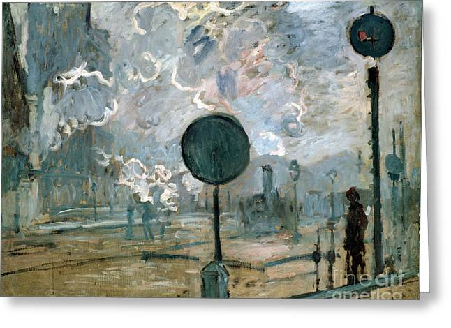 Monet Reproduction Greeting Cards - The Gare Saint-Lazare Greeting Card by Claude Monet