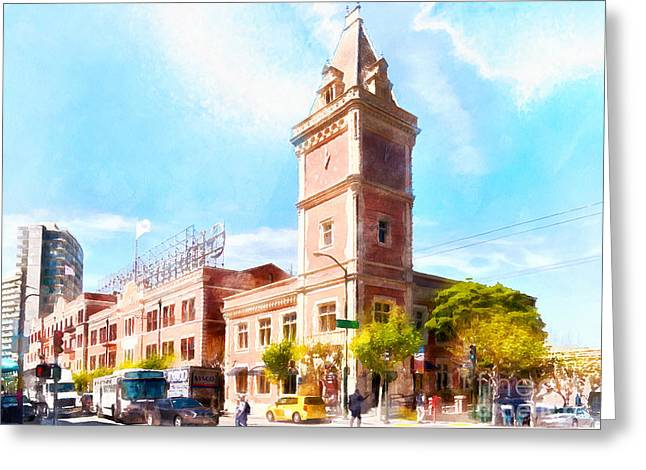 Ghirardelli Chocolate Greeting Cards - The Ghirardelli Chocolate Factory Clock Tower San Francisco Cali Greeting Card by Wingsdomain Art and Photography