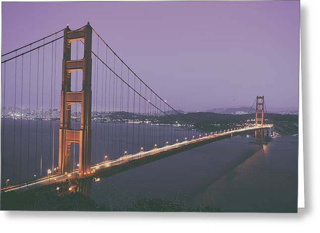 Famous Bridge Greeting Cards - The Golden Gate Bridge At Dusk Greeting Card by Mountain Dreams