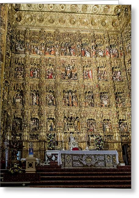Retablos Greeting Cards - The Golden Retablo Mayor - Cathedral of Seville - Seville Spain Greeting Card by Jon Berghoff