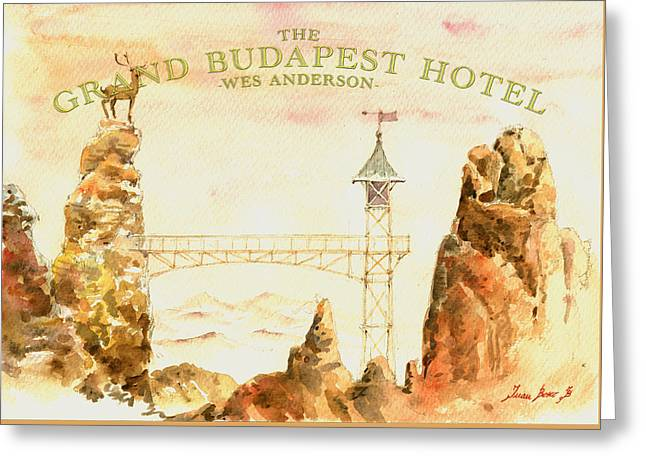Budapest Greeting Cards - The grand budapest hotel watercolor painting Greeting Card by Juan  Bosco